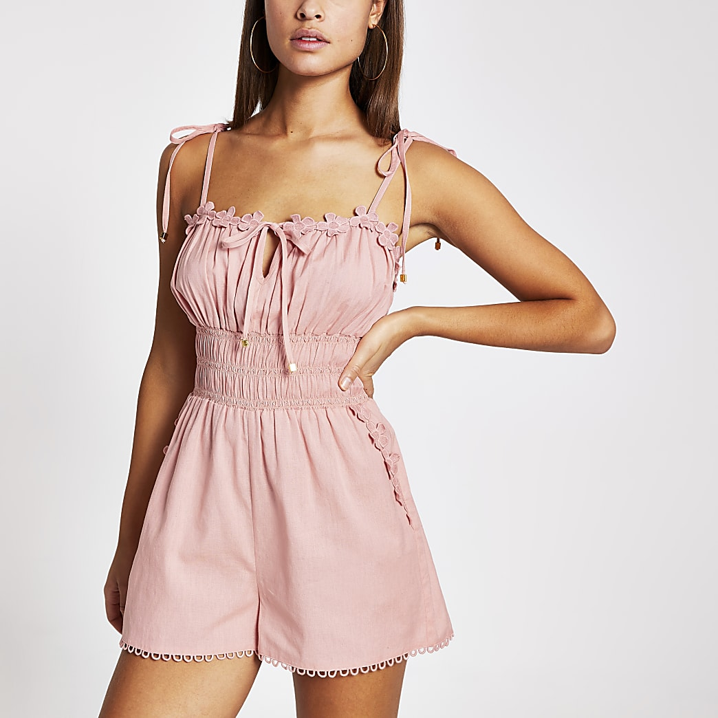 Pink shirred waist beach playsuit