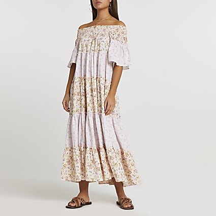 Pink short sleeve bardot tiered maxi dress