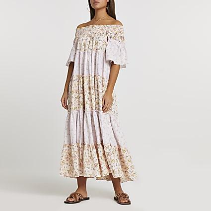 Pink short sleeve bardot tiered maxi dress