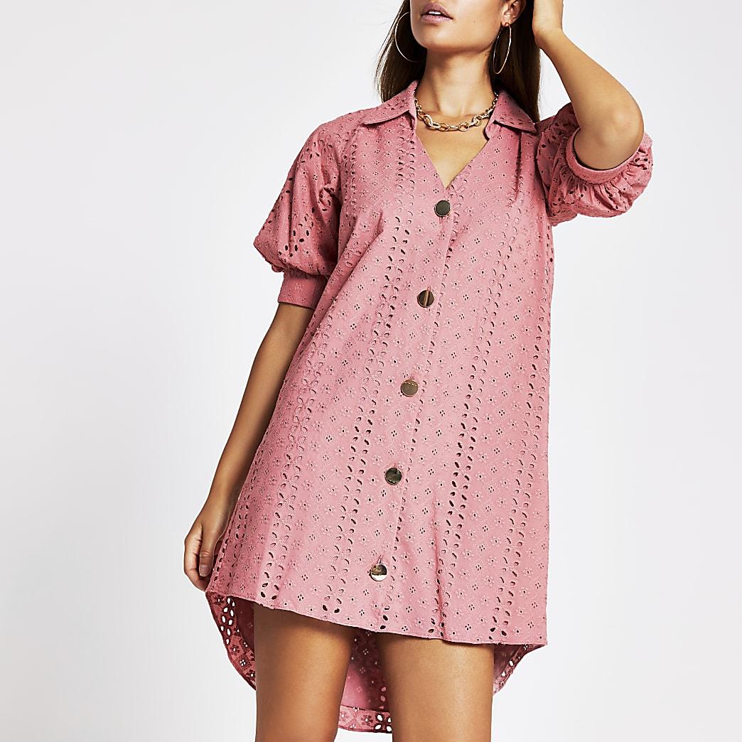 Pink short sleeve broderie shirt mini dress