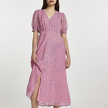 Pink short sleeve button down midi dress
