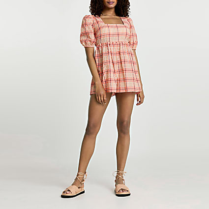Pink short sleeve check playsuit