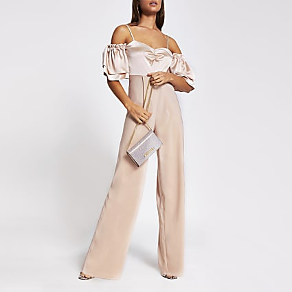 Pink short sleeve cold shoulder jumpsuit