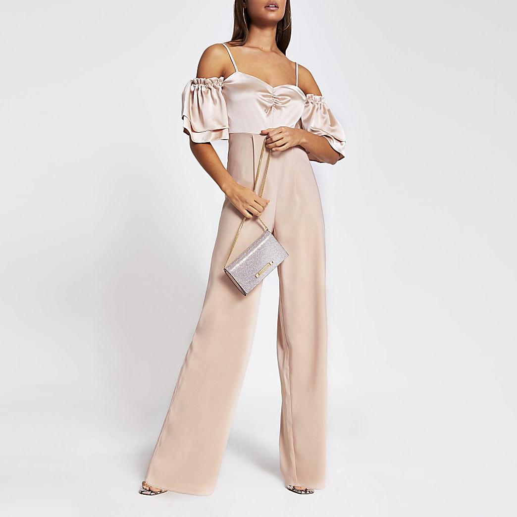 Pink short sleeve cold shoulder jumpsuit