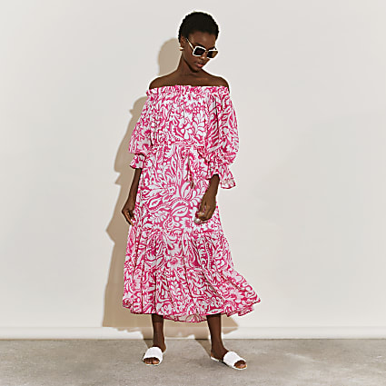 Pink short sleeve floral bardot midi dress