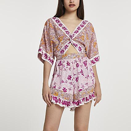 Pink short sleeve floral twist beach playsuit