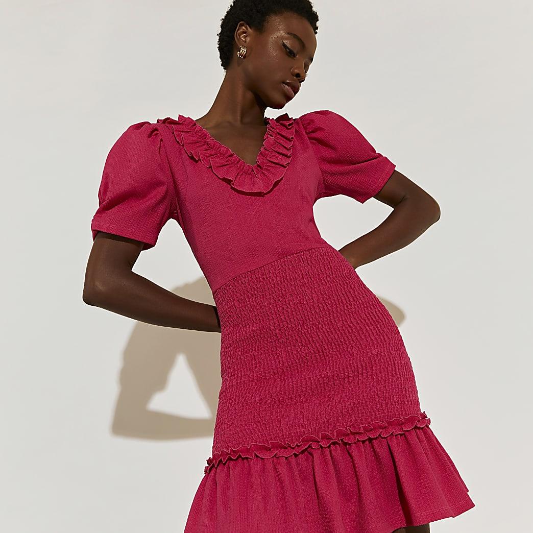 Pink short sleeve frill dress