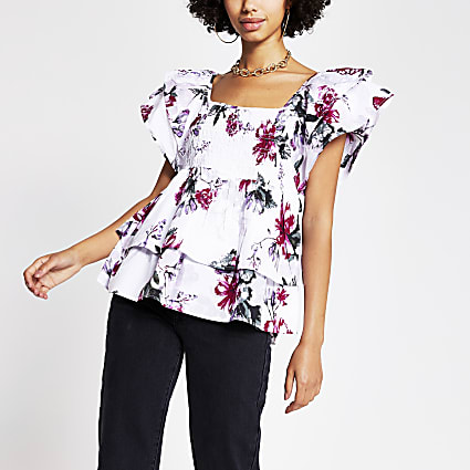 Pink short sleeve frill layered poplin top