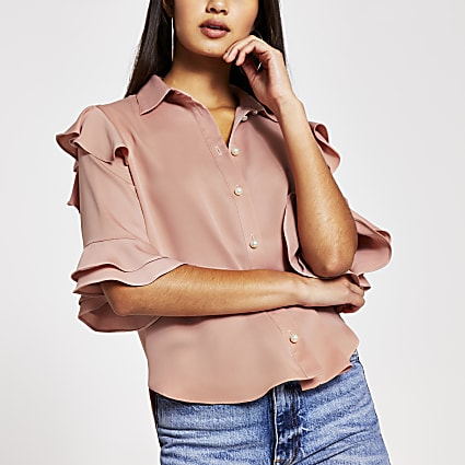 Pink short sleeve frill shirt