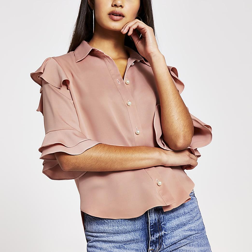 Pink short sleeve frill shirt