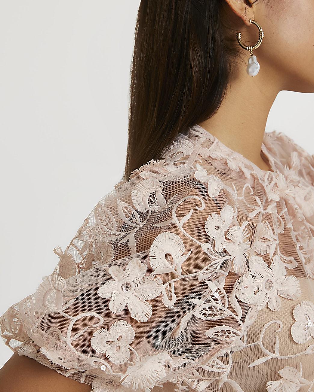 Pink short sleeve jacquard top