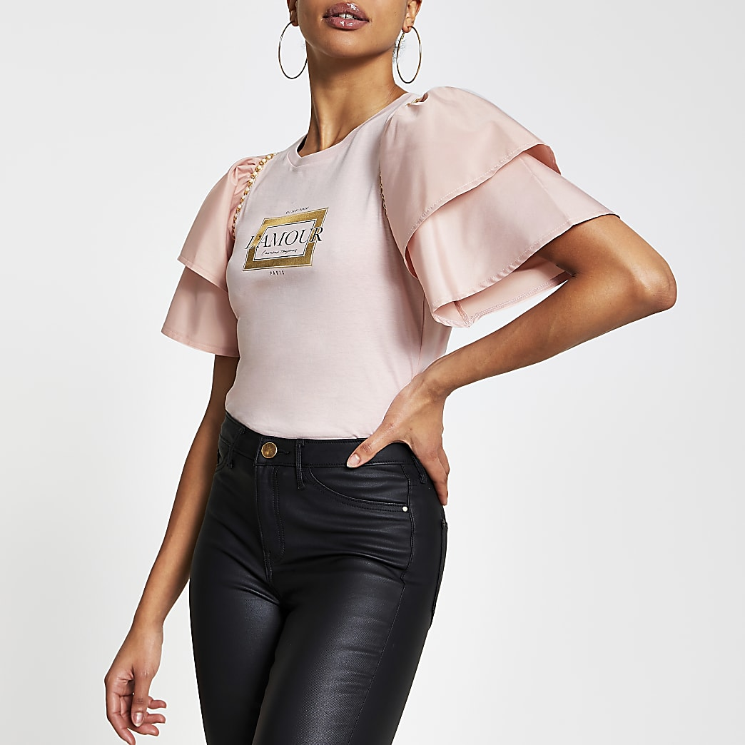 Pink short sleeve 'L'Amour' frill t-shirt