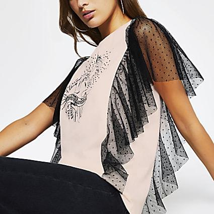 Pink short sleeve mesh frill rock t-shirt
