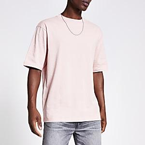 Kurzärmeliges Oversized-T-Shirt in Rosa
