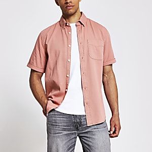 Chemise classique en sergé à manches courtes rose