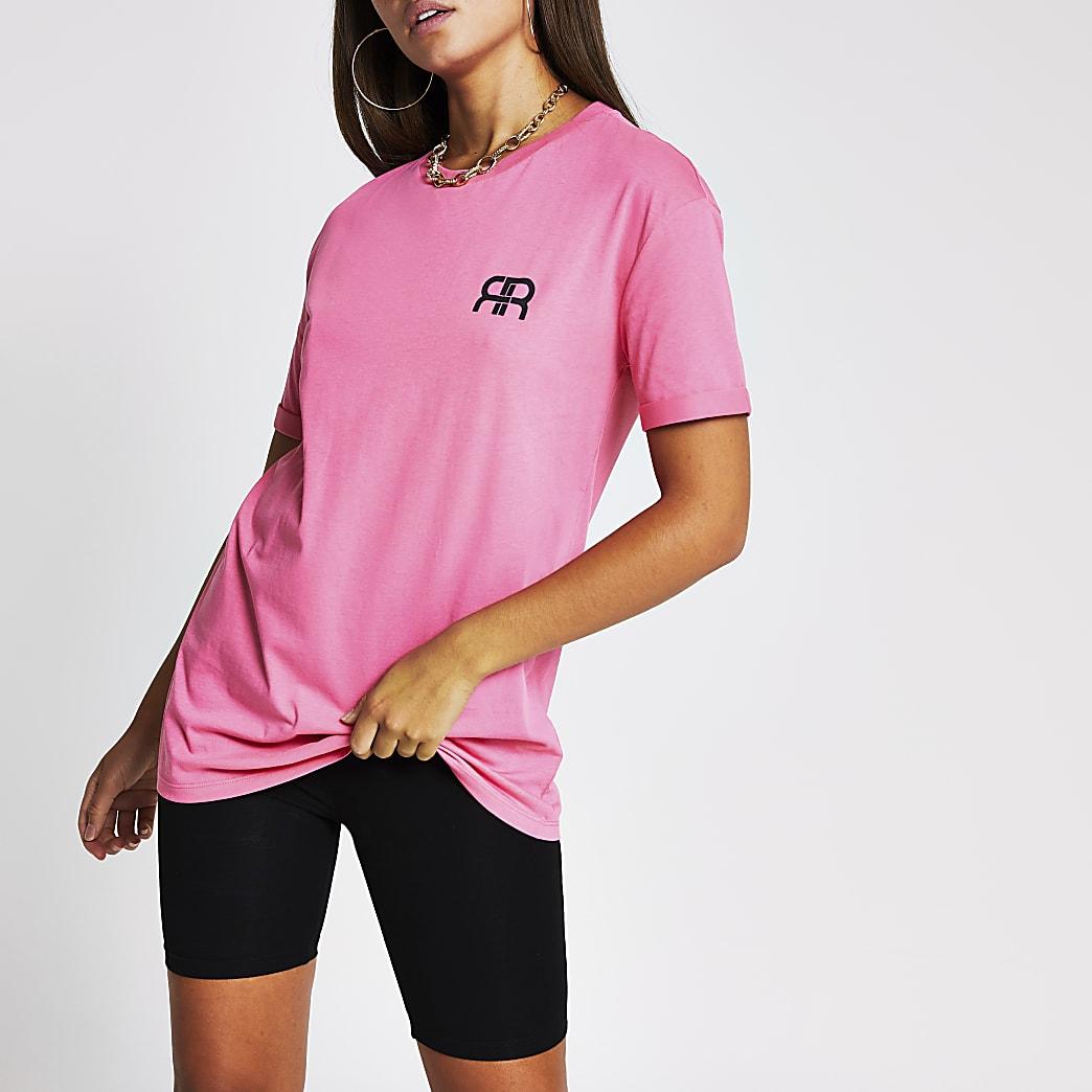 Pink short sleeve RR longline branded t-shirt