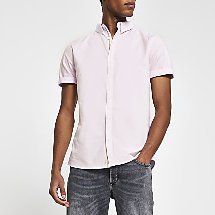 Pink short sleeve slim fit Oxford shirt