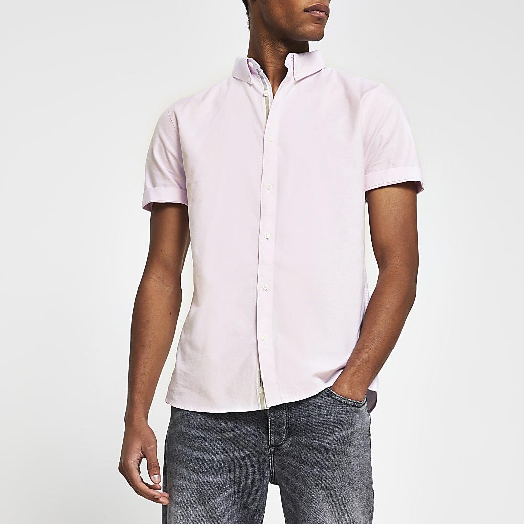 Pink short sleeve slim fit Oxford shirt