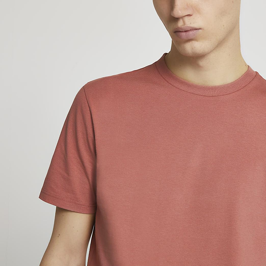 Pink short sleeve slim fit t-shirt