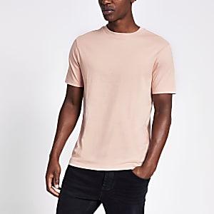 T-shirt slim à manches courtes rose