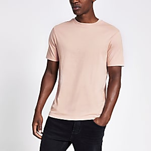 Roze slim-fit T-shirt met korte mouwen