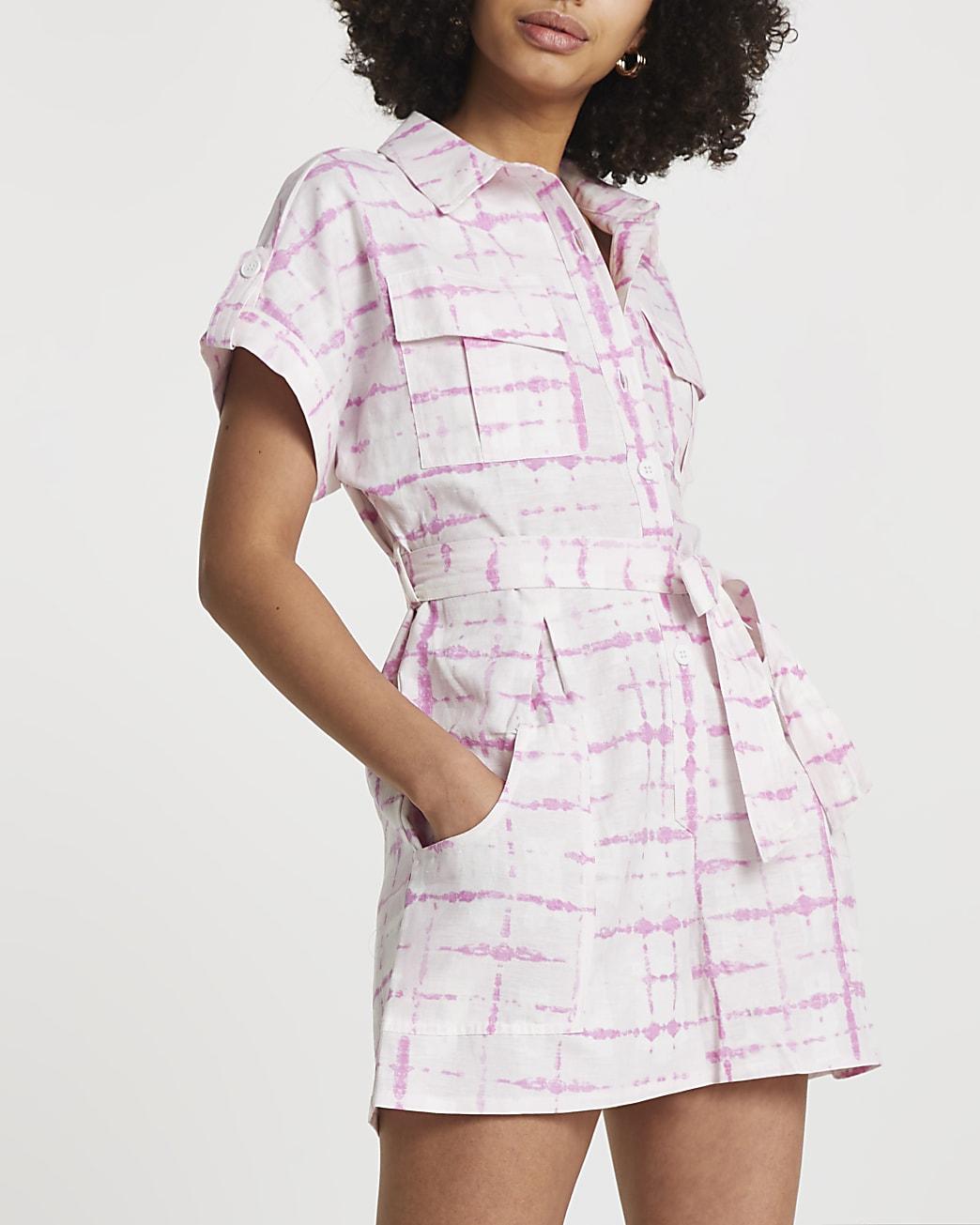 Pink short sleeve tie dye utility playsuit