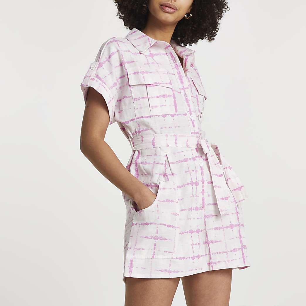 Pink short sleeve tie dye utility playsuit