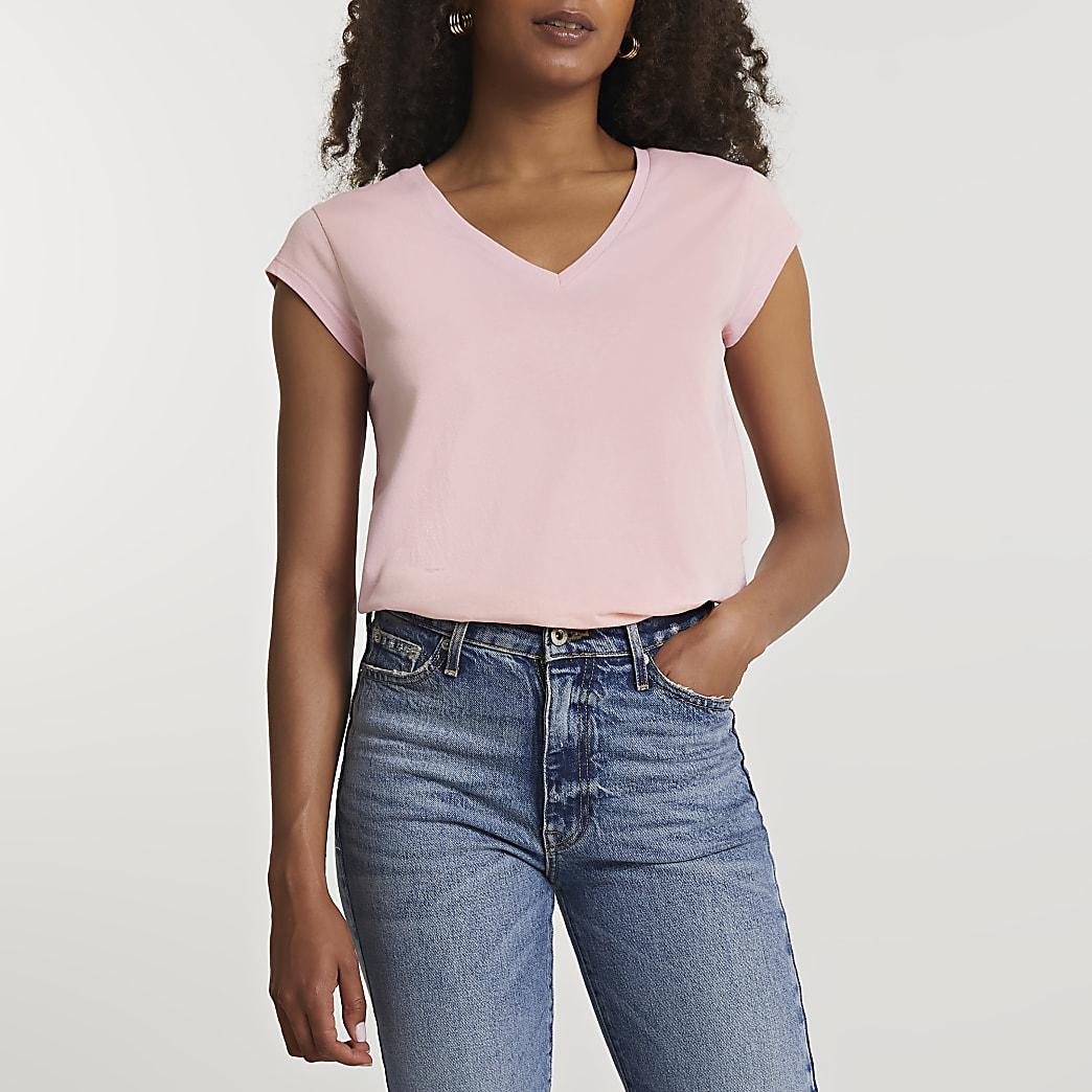 Pink short sleeve v neck t-shirt