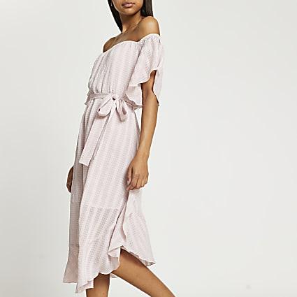 Pink short sleeve waterfall bardot maxi dress