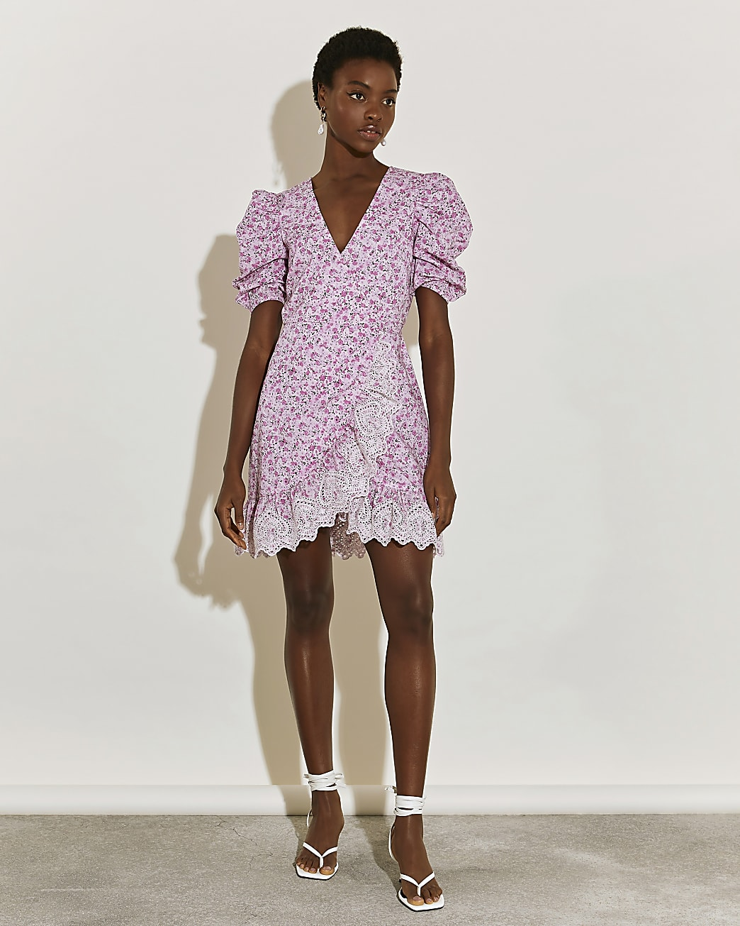 Pink short sleeve wrap tea mini dress