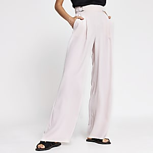 Pink side buckle wide leg trousers