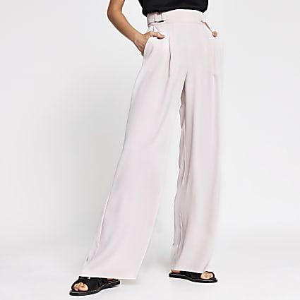 Pink side buckle wide leg trousers
