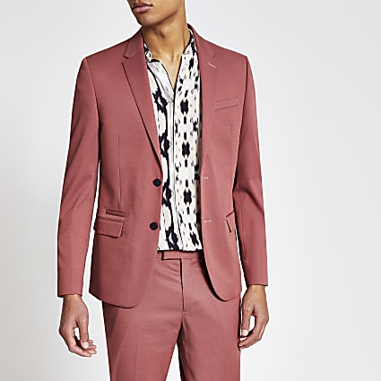 Pink single breasted skinny suit jacket