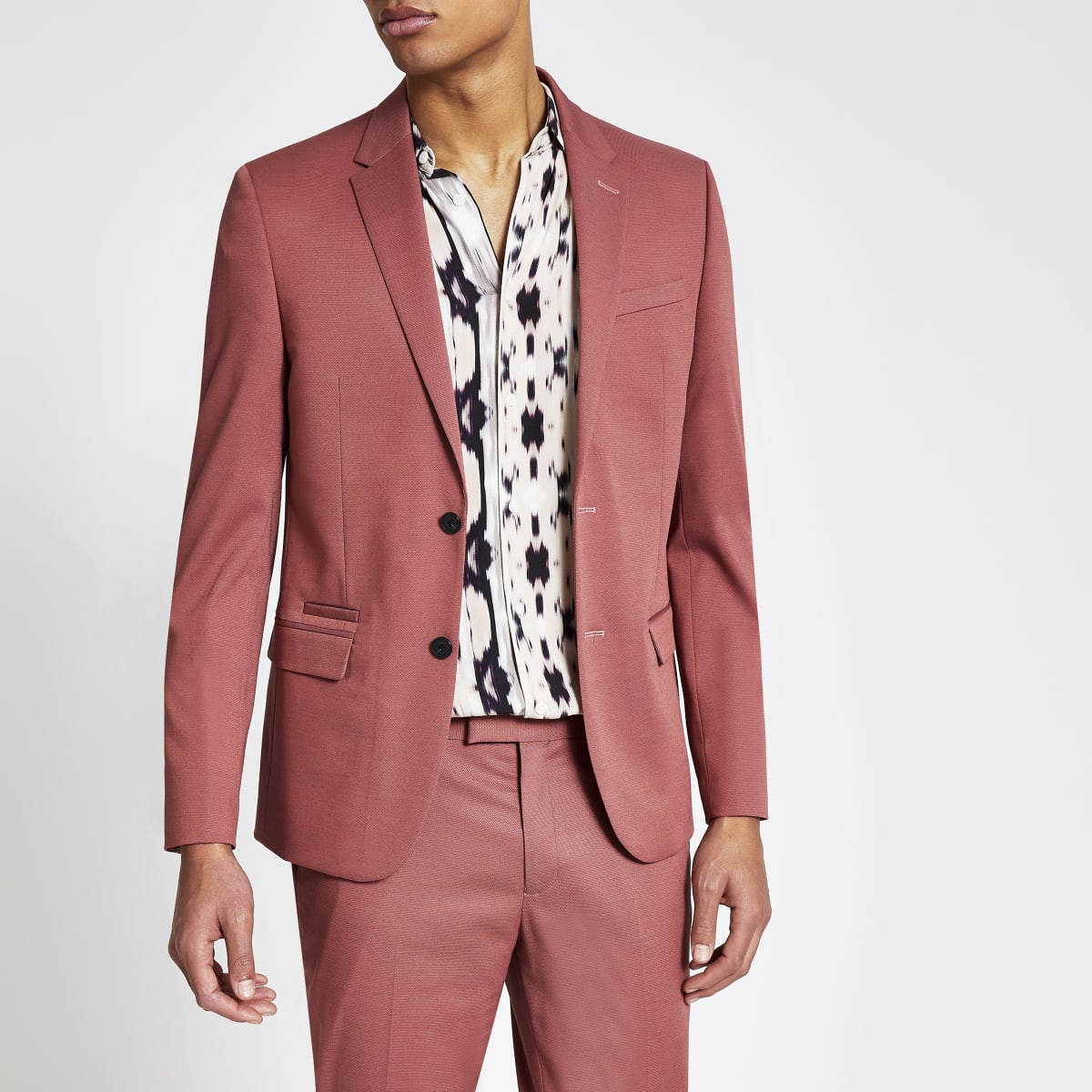 Pink single breasted skinny suit jacket