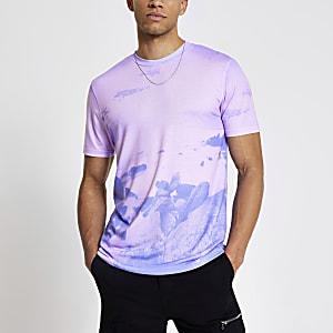 Roze slim-fit T-shirt met hemel-print