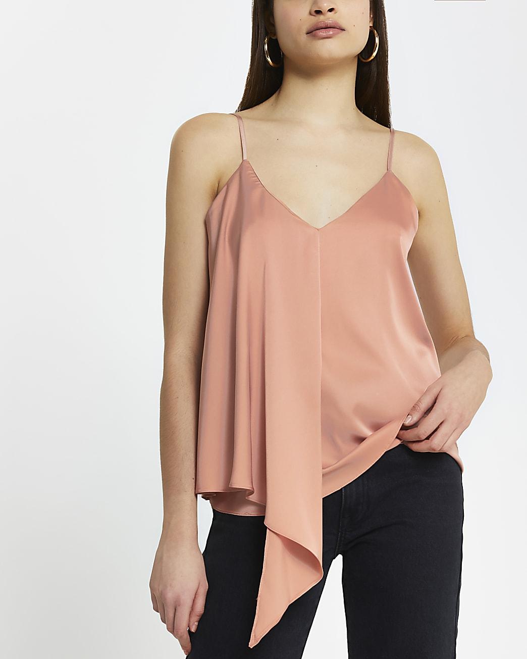 Pink sleeveless asymmetric cami top