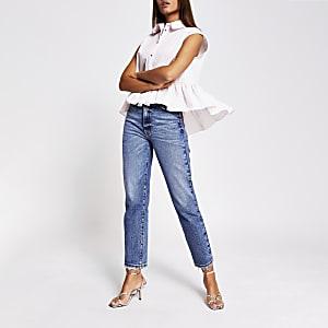 Pink sleeveless high low frill shirt