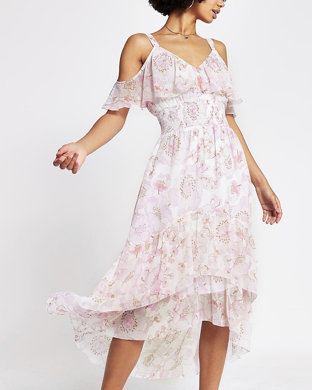 Pink sleeveless shirred waist midi dress