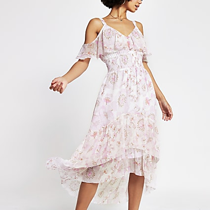Pink sleeveless shirred waist midi dress
