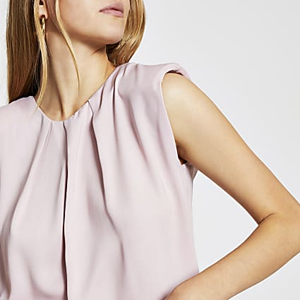 Pink Sleeveless Shoulder Pad Top