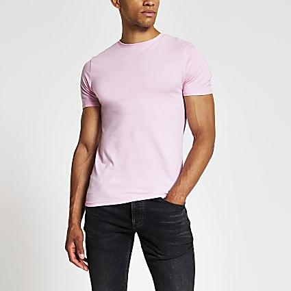 Pink slim fit crew neck T-shirt
