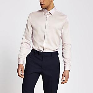 Roze slim-fit overhemd van Egyptisch katoen