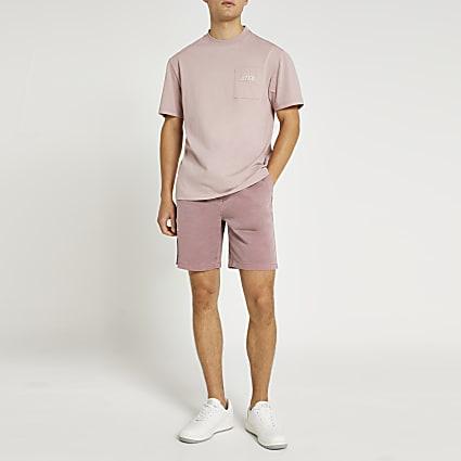 Pink slim fit elasticated waist chino shorts