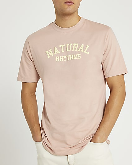 Pink slim fit graphic t-shirt