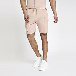 Pinke Slim Fit Jersey-Shorts