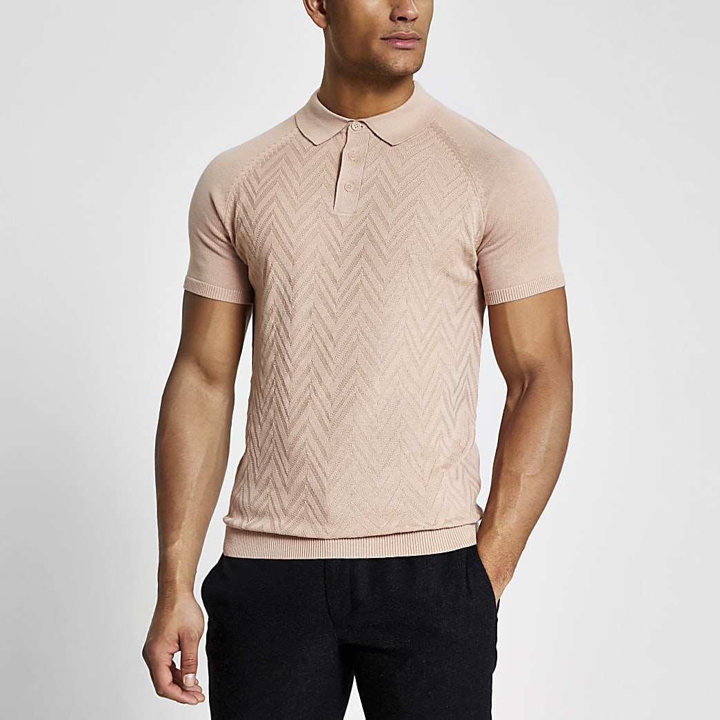 Pink slim fit knitted short sleeve polo shirt
