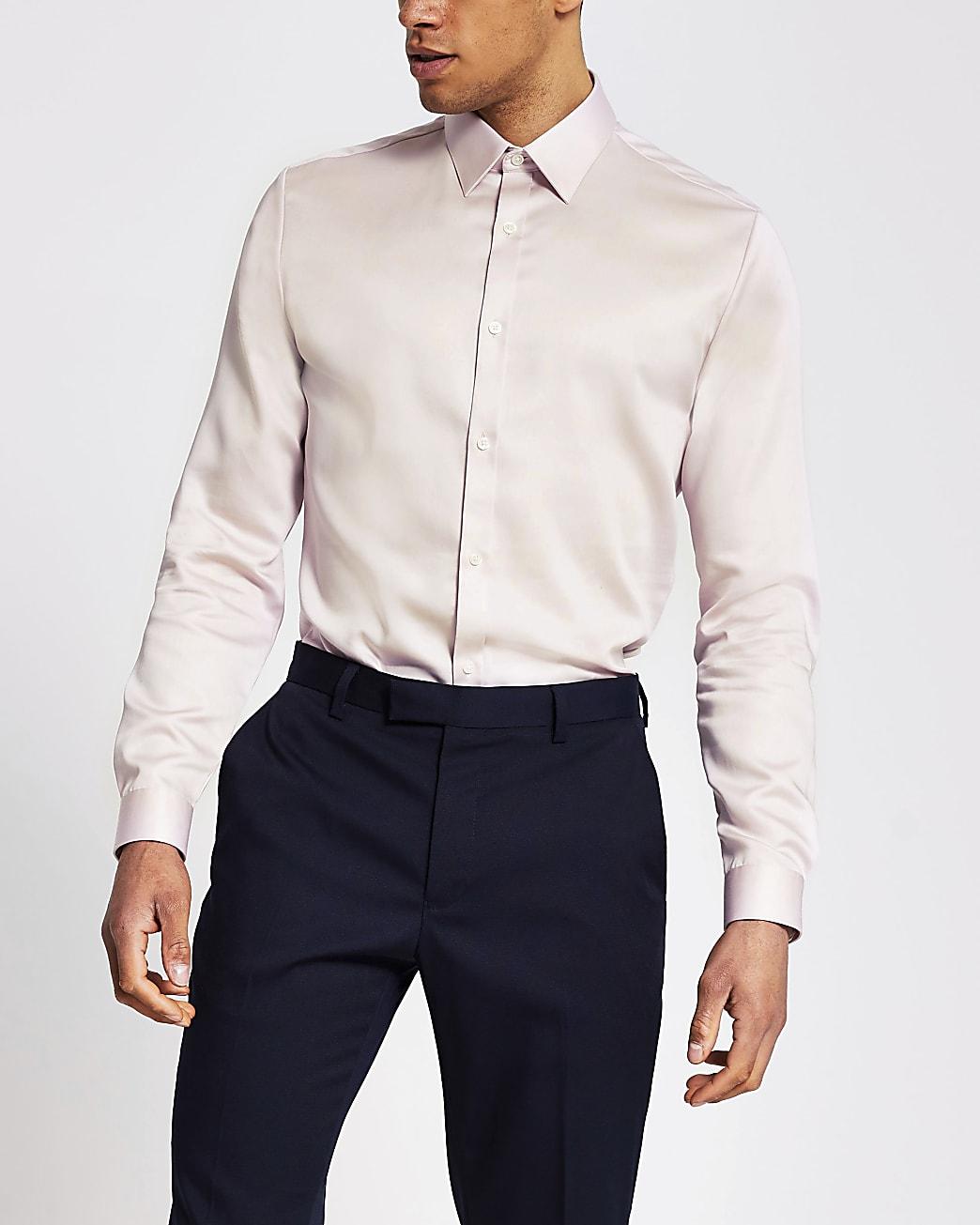 Pink slim fit long sleeve shirt