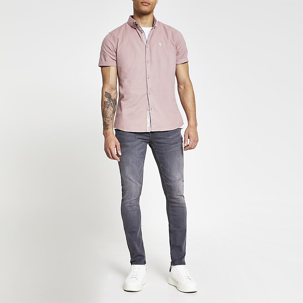Pink slim fit short sleeve oxford shirt