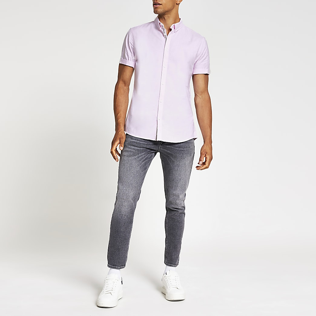 Pink slim fit short sleeve oxford shirt