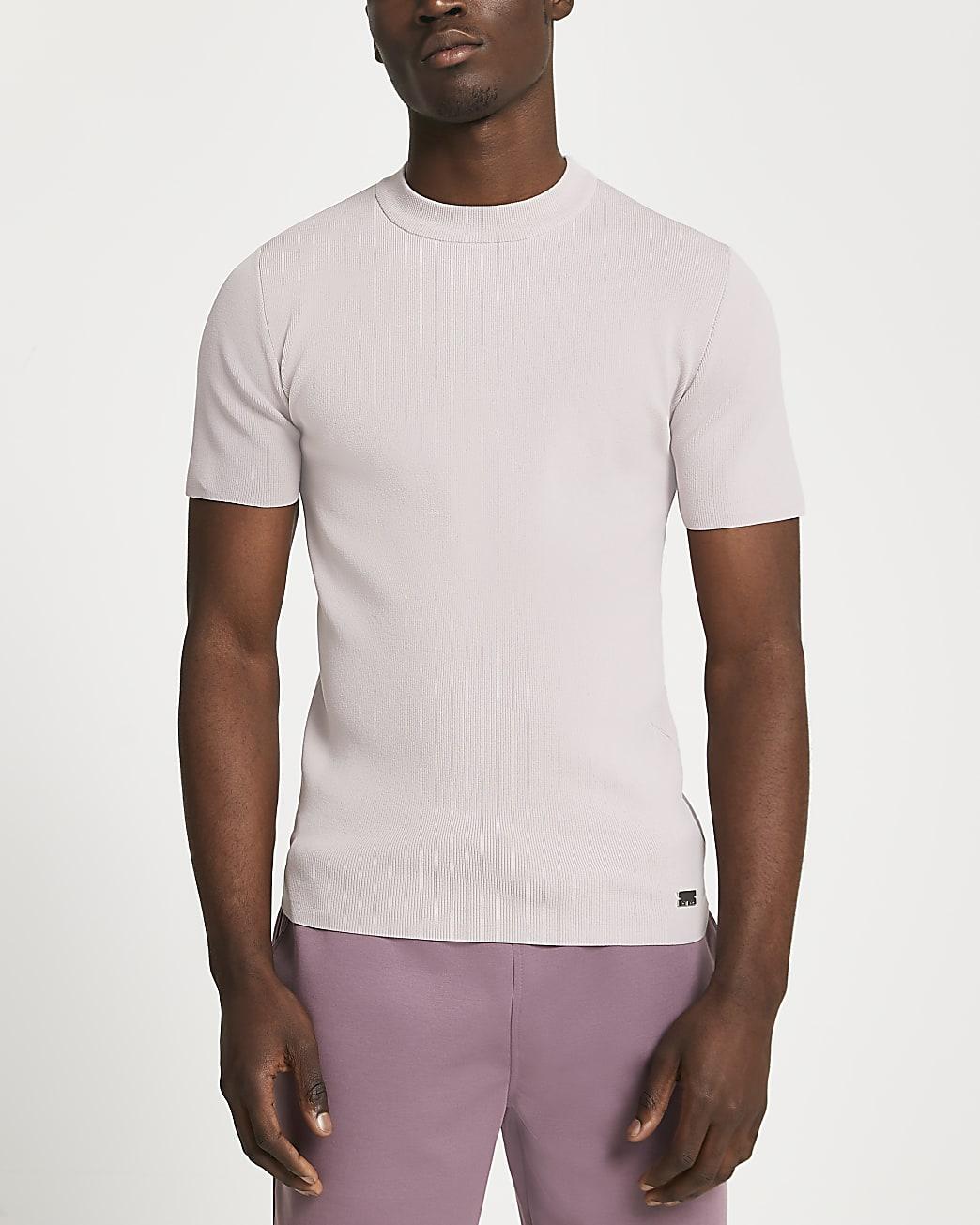 Pink slim fit smart knit t-shirt